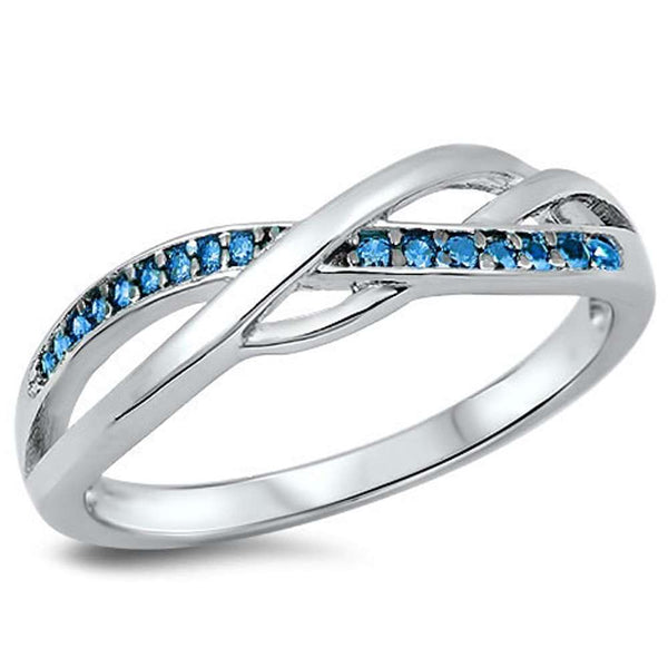 Beautiful Infinity with Blue CZ .925 Sterling Silver Ring Sizes 4-10