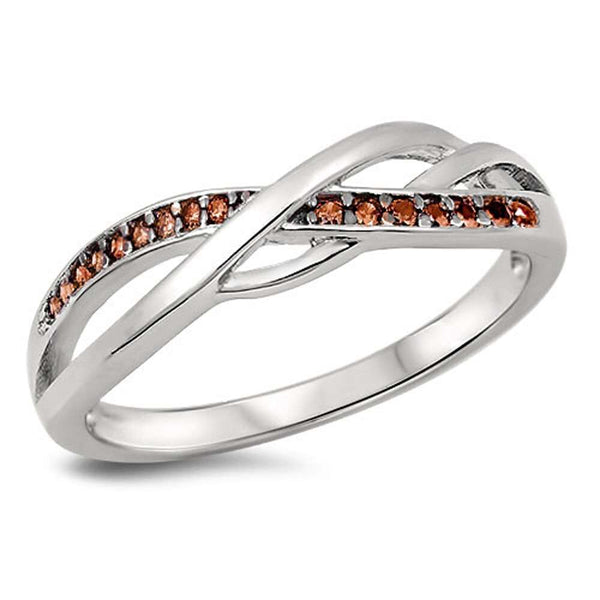 Beautiful Infinity with Garnet .925 Sterling Silver Ring Sizes 4-10