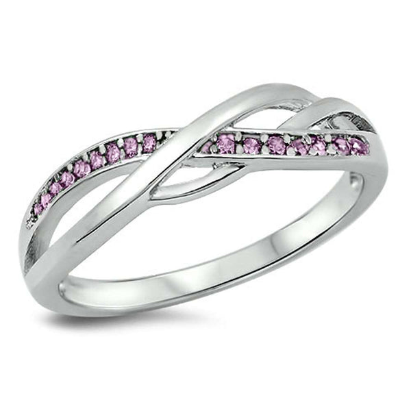 Beautiful Infinity with Pink CZ .925 Sterling Silver Ring Sizes 4-10