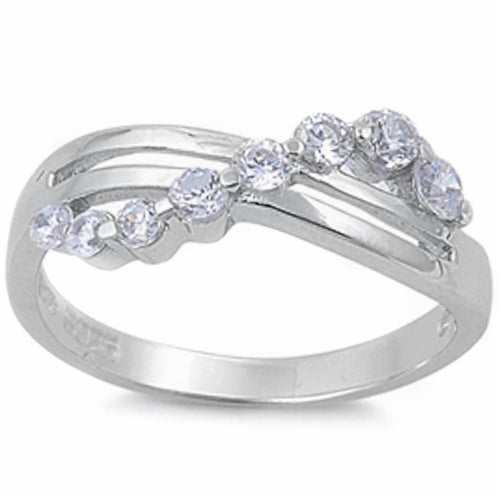 Cubic Zirconia Bypass Ring .925 Sterling Silver Sizes 5-9