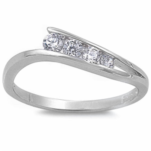Four Cubic Zirconias .925 Sterling Silver Ring Sizes 5-9