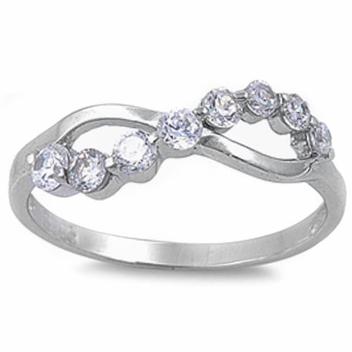 Cubic Zirconia Infinity Motif .925 Sterling Silver Ring Sizes 5-9