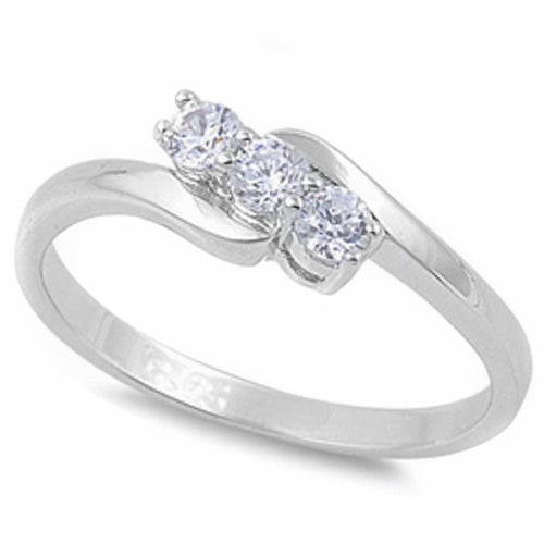 Round-cut Cubic Zirconia Ring .925 Sterling Silver Sizes 5-9
