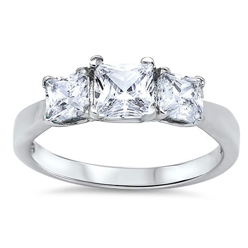 Three stone Princess-cut Cubic Zirconia Ring.925 Sterling Silver Sizes 4-12