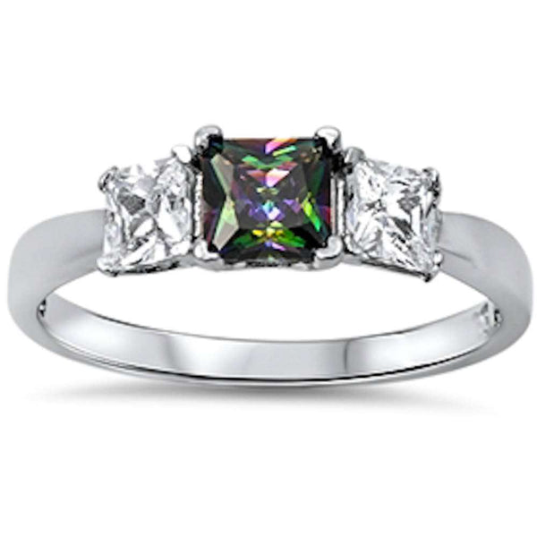 Princess Cut Cz & Rainbow Cz  .925 Sterling Silver Ring Sizes 6-9