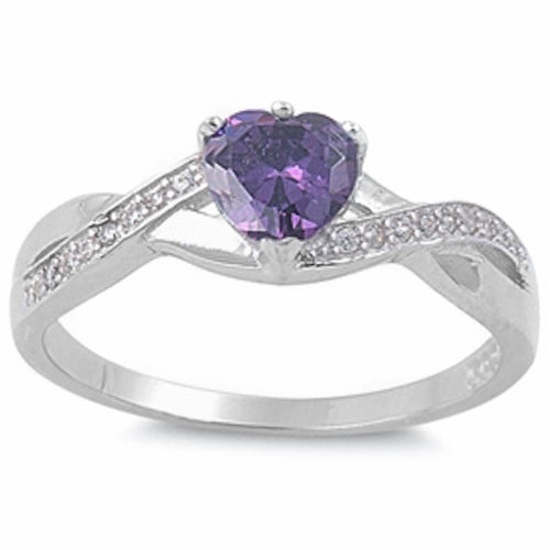 Amethyst Heart with Cz Accent .925 Sterling Silver Ring Sizes 5-9