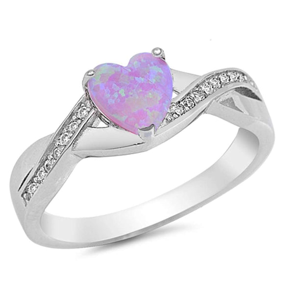 Lab Created Pink Opal Heart with Cz Accent .925 Sterling Silver Ring Sizes 4-10