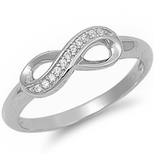 Cz Accent Infinity Symbol .925 Sterling Silver Ring Sizes 5-10