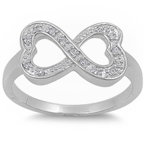 Pave set Cz Infinity Heart Ring.925 Sterling Silver Sizes 5-9