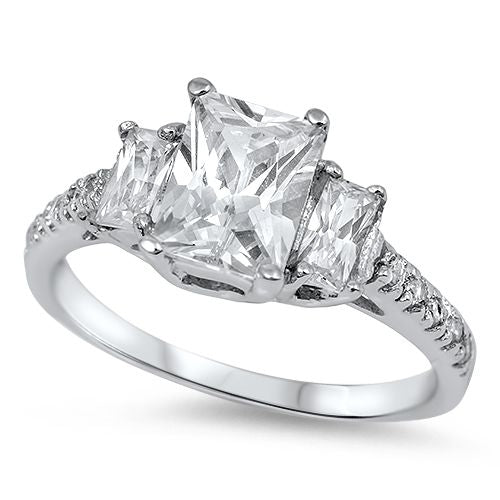 Radiant Cut White Cz Engagement .925 Sterling Silver Ring Sizes 5-11