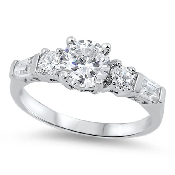 Round and Baguette shaped Cubic Zirconia Ring.925 Sterling Silver Sizes 5-10