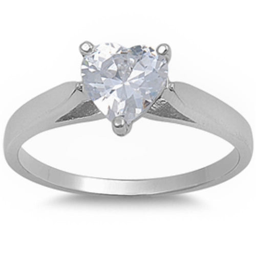 Cubic Zirconia Heart Solitaire Ring .925 Sterling Silver Sizes 5-10