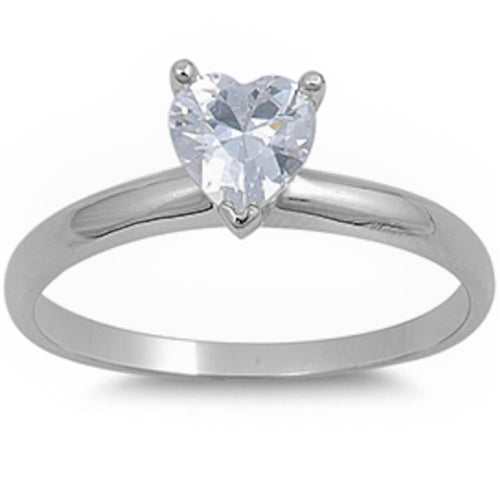 Cubic Zirconia Heart Solitaire Ring .925 Sterling Silver Sizes 4-10