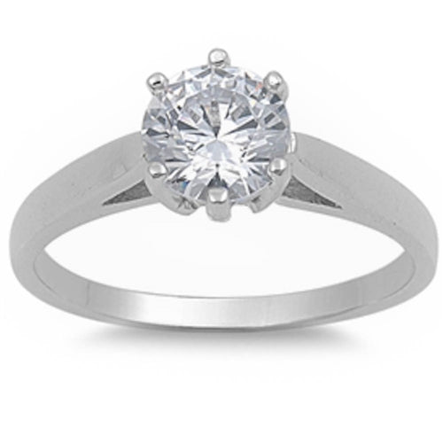 2Ct Round Cz Engagement Solitaire 925 Sterling Silver Ring Sizes 5-10