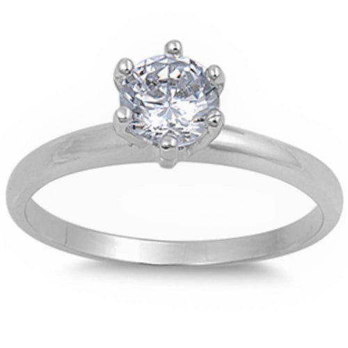 Round White Cz Engagement .925 Sterling Silver Ring Sizes 4-8