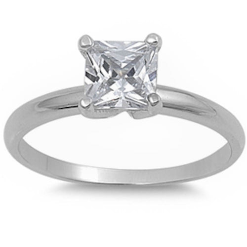 1.75Ct Princess-cut Cz Engagement Solitaire .925 Sterling Silver Ring Sizes 5-10