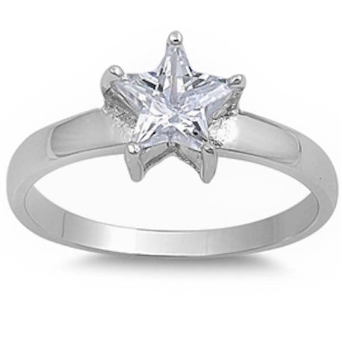 Cubic Zirconia Star .925 Sterling Silver Ring Sizes 5-10