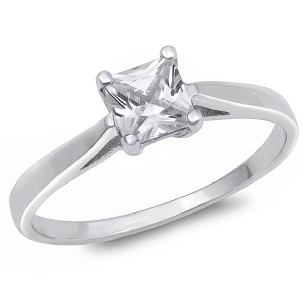 1.25ct Princess-cut Cz Engagement Solitaire .925 Sterling Silver Ring Sizes 5-10