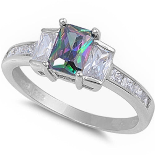 Rainbow Topaz & Cubic Zirconia .925 Sterling Silver Ring Sizes 5-10