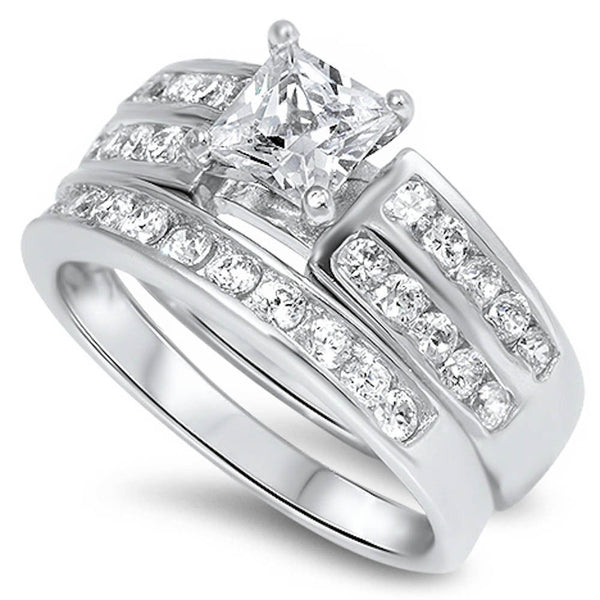 Princess Cut Cz Bridal Set  .925 Sterling Silver Ring Sizes 6-10