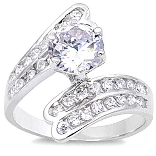 Bypass Style with Round Cubic Zirconias .925 Sterling Silver Ring Sizes 5-10