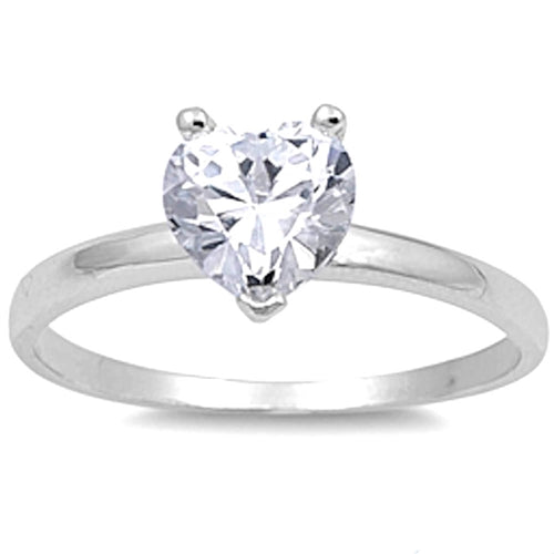 Prong-set Cubic Zirconia Heart .925 Sterling Silver Ring Sizes 4-10
