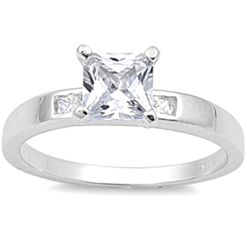 Princess-cut Cubic Zirconia Ring .925 Sterling Silver Sizes 5-10