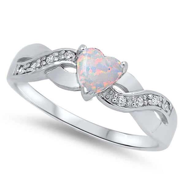 White Opal Heart & Cubic Zirconia Infinity .925 Sterling Silver Ring Sizes 4-11