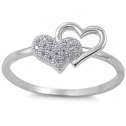 Pave set Cz Heart .925 Sterling Silver Ring Sizes 4-9