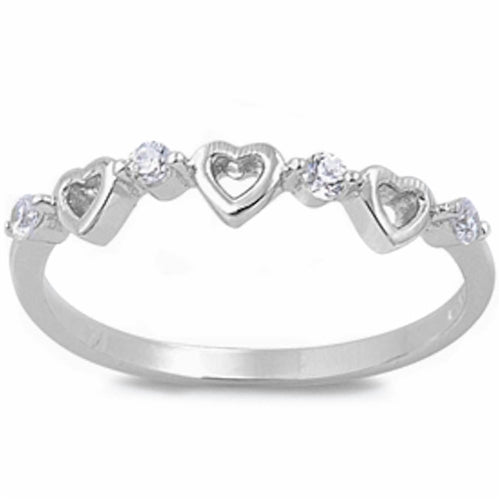 Open Heart with Cubic Zirconia Ring .925 Sterling Silver Sizes 4-9
