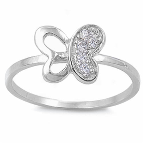 Pave set Cz Butterfly .925 Sterling Silver Ring Sizes 4-9