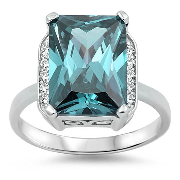 Aquamarine with Cz Ring .925 Sterling Silver Sizes 6-10