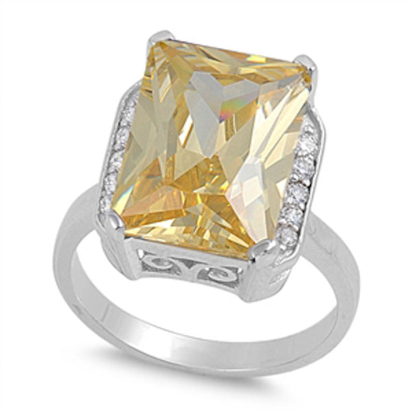 Beautiful Radiant Shape Yellow Cz & White Cz .925 Sterling Silver Ring Sizes 6-10