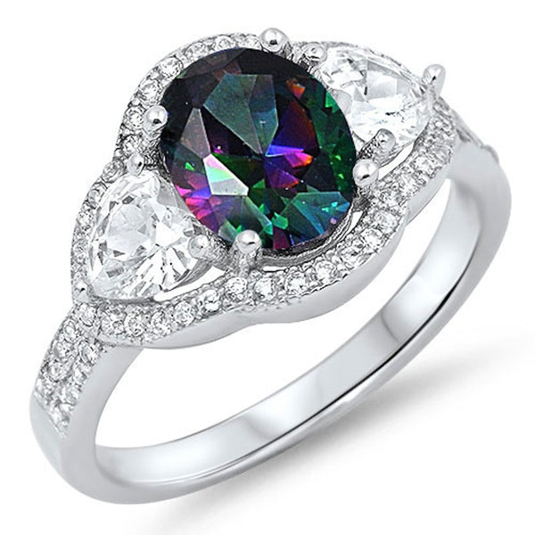 Oval Rainbow Topaz with Cz Accent Ring .925 Sterling Silver Sizes 5-9