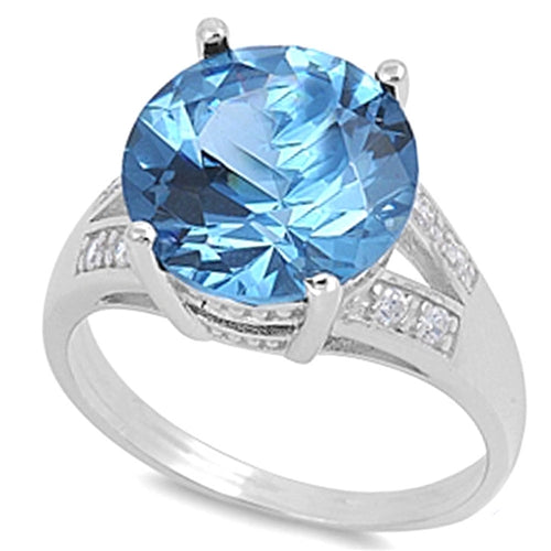 Round-cut Aquamarine with Cz Accent .925 Sterling Silver Ring Sizes 6-10
