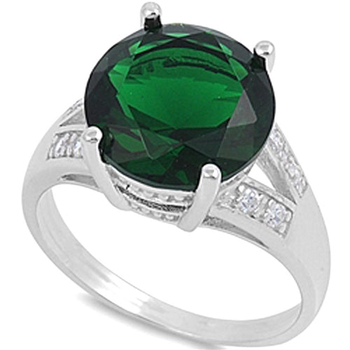 Round-cut Emerald with Cz Accent .925 Sterling Silver Ring Sizes 6-10