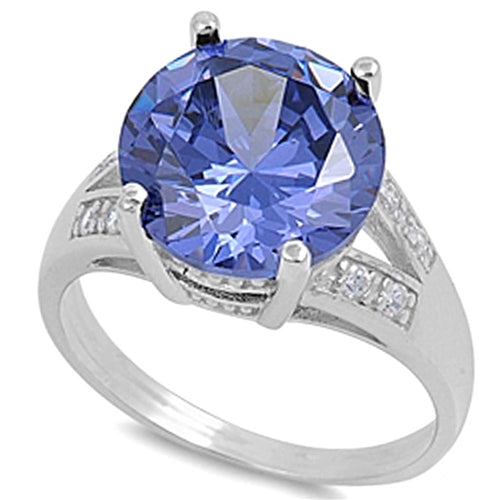 Round-cut Tanzanite with Cz Accent .925 Sterling Silver Ring Sizes 6-10
