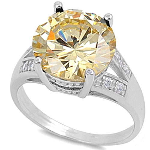 Round-cut Yellow Topaz with Cz Accent .925 Sterling Silver Ring Sizes 5-10