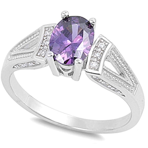Multi-faceted Amethyst with Cz Accent .925 Sterling Slver Ring Sizes 5-9
