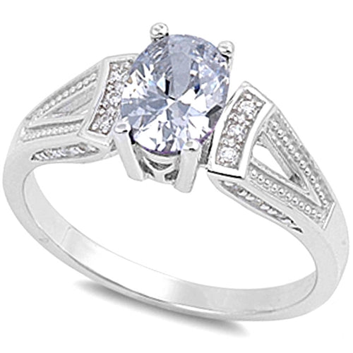 Multi-faceted Cubic Zirconia with Cz Accent .925 Sterling Silver Ring Sizes 5-9