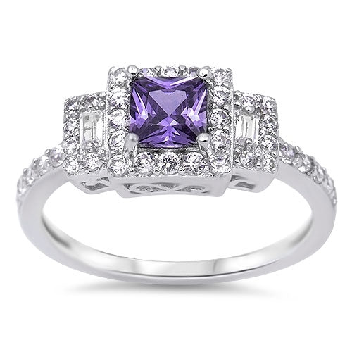 Fashion Ring with Amethyst & Cz.925 Sterling Silver Sizes 4-12
