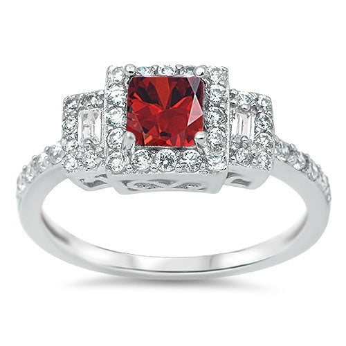 Fashion Ring with Garnet & Cz .925 Sterling Silver Sizes 6-9