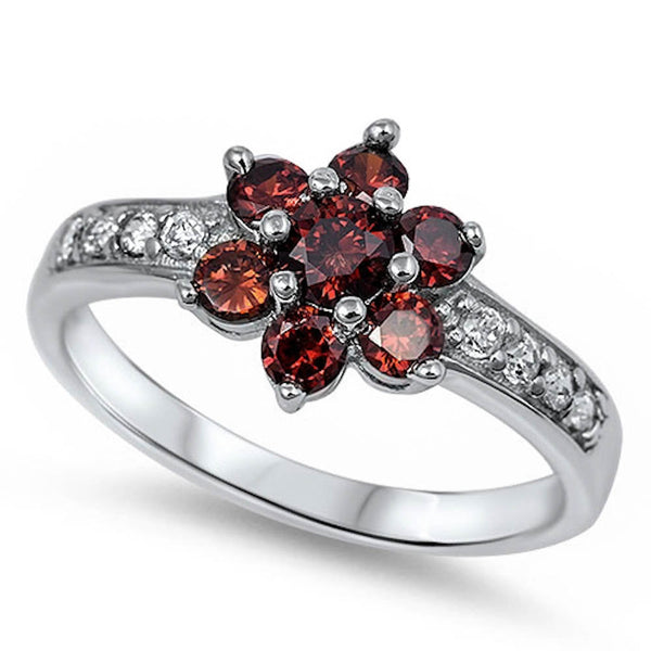 Clustered Garnet Flower with Cz .925 Sterling Silver Ring Sizes 5-11