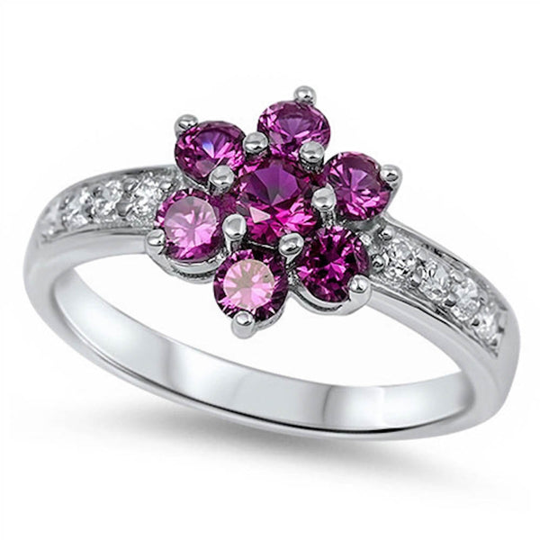 Clustered Ruby Flower with Cz .925 Sterling Silver Ring Sizes 4-11