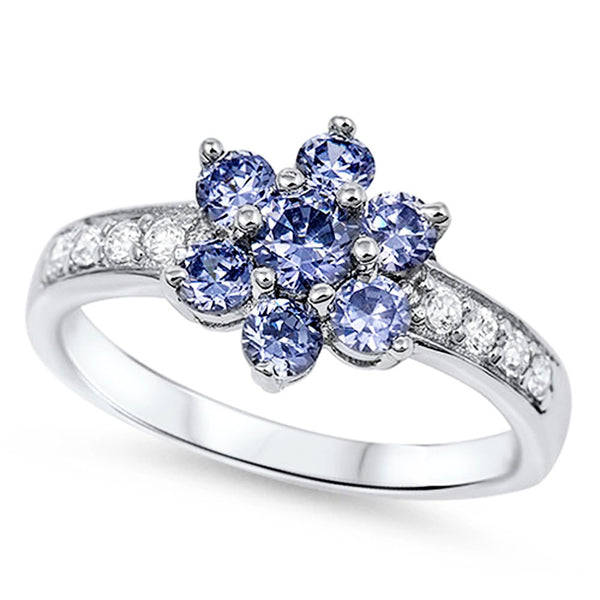 Clustered Tanzanite Flower with Cz .925 Sterling Silver Ring Sizes 5-11