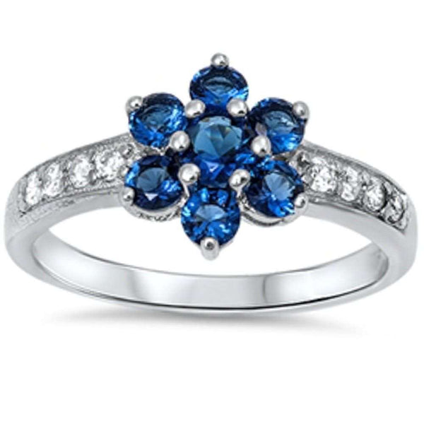 Blue Sapphire Flower & Cz  .925 Sterling Silver Ring Sizes 3-11