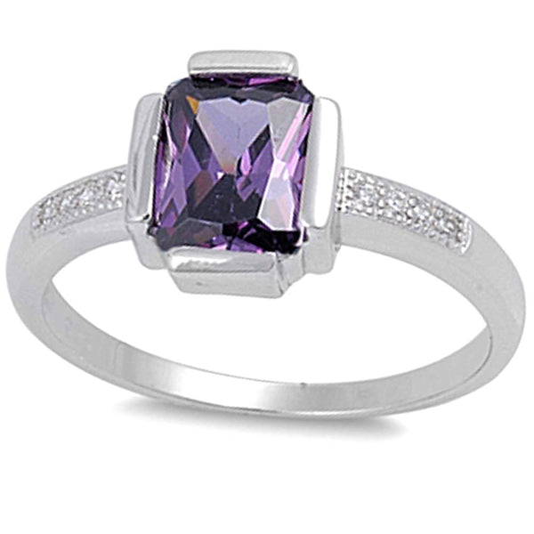 Cz Ring with Amethyst .925 Sterling Silver Sizes 5-9