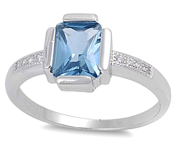 Cz Ring with Aquamarine .925 Sterling Silver Sizes 5-9