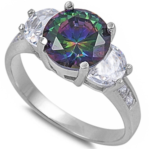 Three stone Cubic Zirconia & Rainbow Topaz .925 Sterling Silver Ring Sizes 5-10