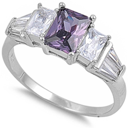 Amethyst & Cz .925 Sterling Silver Ring Sizes 5-9
